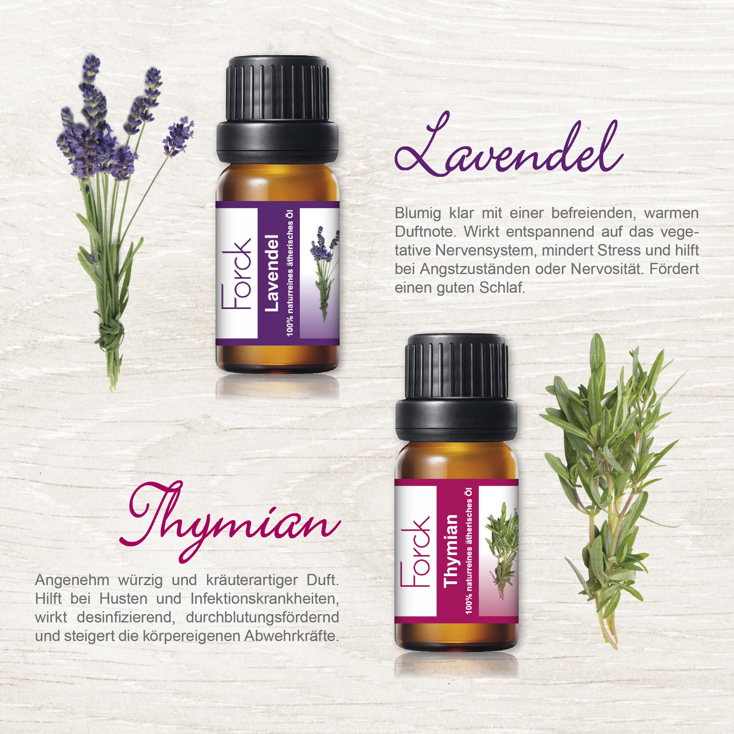 Lavendel und Thymian Öle Detailansicht