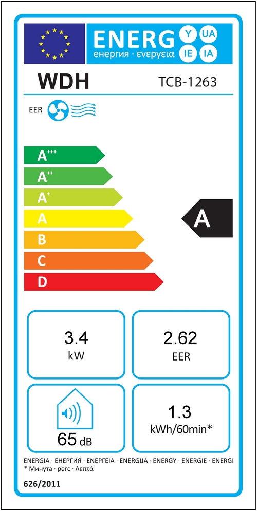 EER Etikett Klimagerät WDH-TCB1263